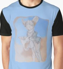Girl Playing with a Wooden Horsy (Original Hand Drawing by Alice Iordache) Graphic T-Shirt