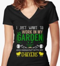 Work In My Garden - Hang With Chickens Funny Gardening Women's Fitted V-Neck T-Shirt