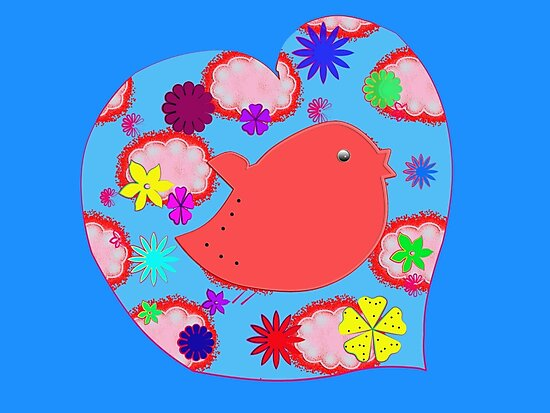 Little bird in a heart on blue by JoAnnFineArt