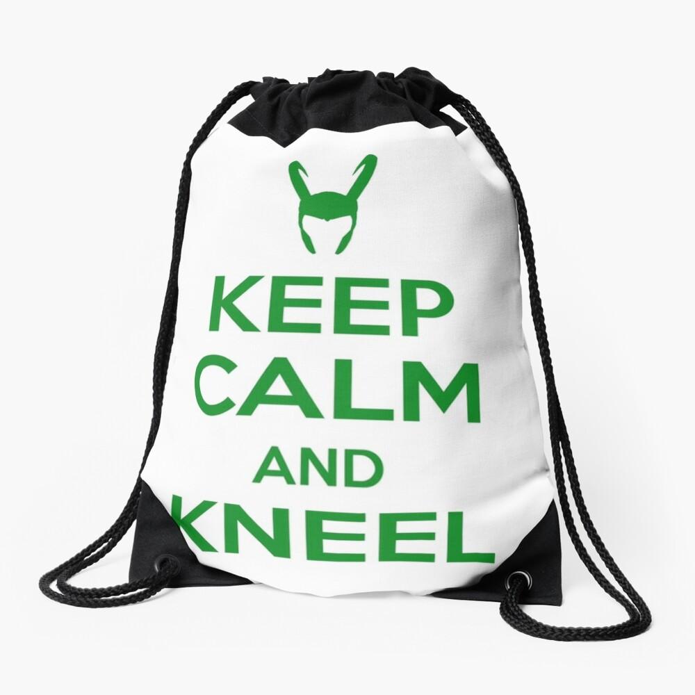 Keep Calm and Kneel Drawstring Bag