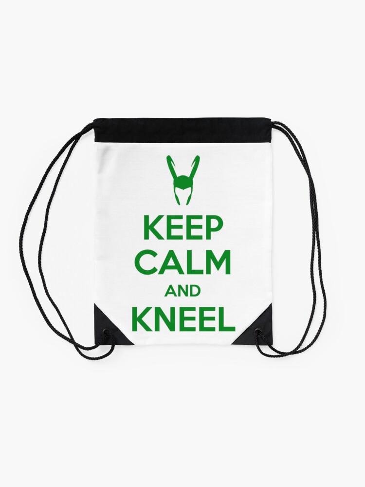 Alternate view of Keep Calm and Kneel Drawstring Bag