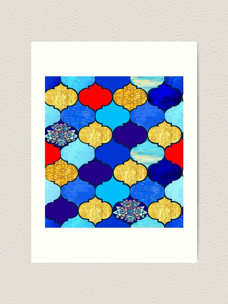 Alternate view of  moroccan tiles , red, aqua, blue and gold moroccan tiled design by Magenta Rose Designs Art Print