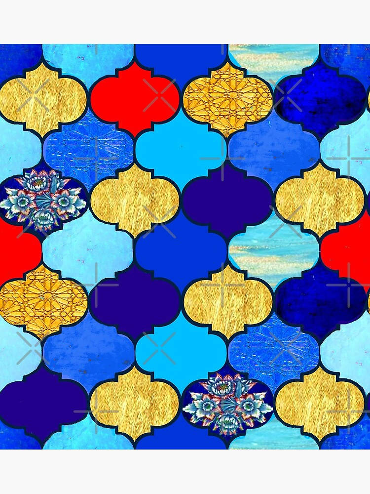 moroccan tiles , red, aqua, blue and gold moroccan tiled design by Magenta Rose Designs by MagentaRose