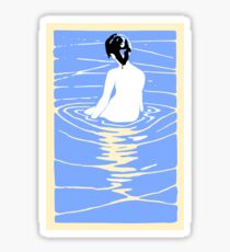 Lady in an Onsen, Naked woman Bathing, Japanese, Japan Sticker