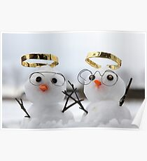 Two cute snowman angles with golden halos Poster