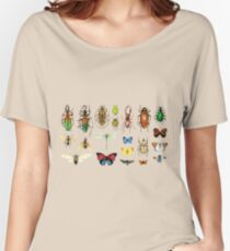The Usual Suspects - Insects on grey - watercolour bugs pattern by Cecca Designs Women's Relaxed Fit T-Shirt