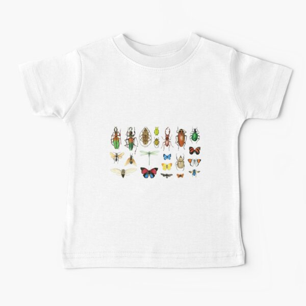 The Usual Suspects - Insects on grey - watercolour bugs pattern by Cecca Designs Baby T-Shirt
