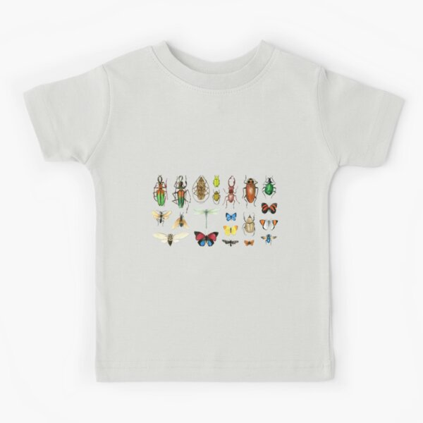 The Usual Suspects - Insects on grey - watercolour bugs pattern by Cecca Designs Kids T-Shirt