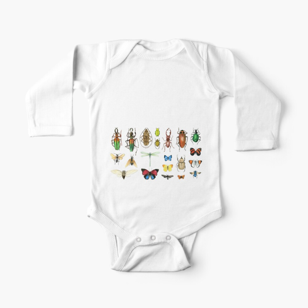 The Usual Suspects - Insects on grey - watercolour bugs pattern by Cecca Designs Baby One-Piece
