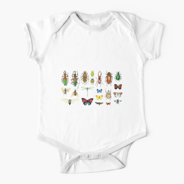 The Usual Suspects - Insects on grey - watercolour bugs pattern by Cecca Designs Short Sleeve Baby One-Piece