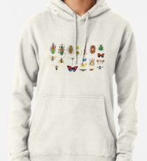 The Usual Suspects - Insects on grey - watercolour bugs pattern by Cecca Designs Pullover Hoodie