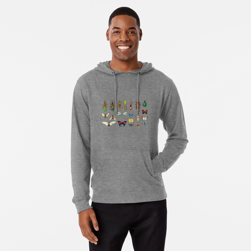 The Usual Suspects - Insects on grey - watercolour bugs pattern by Cecca Designs Lightweight Hoodie