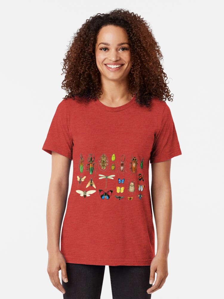 Alternate view of The Usual Suspects - Insects on grey - watercolour bugs pattern by Cecca Designs Tri-blend T-Shirt