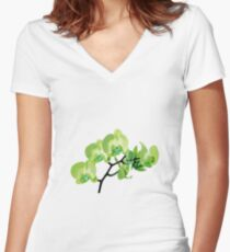 Orchid, green Women's Fitted V-Neck T-Shirt