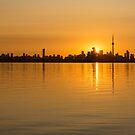 Toronto Skyline - Three Suns Over Liquid Silk by Georgia Mizuleva