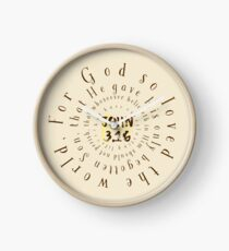 John 3.16 Bible Verse Circle Typography Clock
