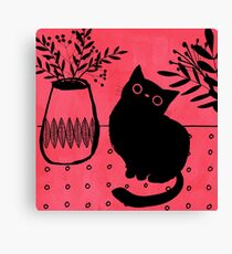 Black cat on raspberry Canvas Print