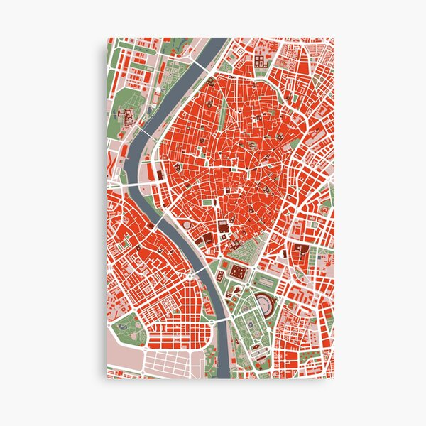 Seville city map classic Lienzo