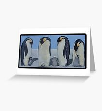 Emperor Penguins with chicks Greeting Card