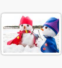 Two cute snowmen dressed as kings  Sticker