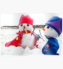 Two cute snowmen dressed as kings  Poster