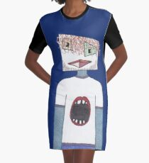 Facial Expression Graphic T-Shirt Dress