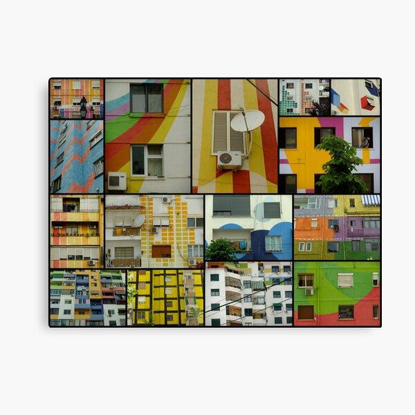 Tirana Collage - colorful buildings in Tirana, Albania Canvas Print