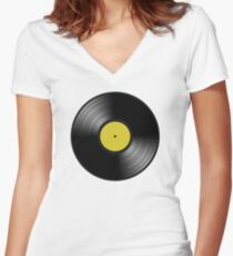 VINYL YELLOW Women's Fitted V-Neck T-Shirt