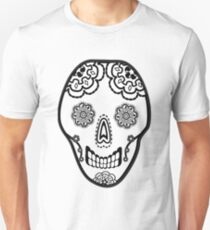 Black and White Sugar Skull (Calavera) Unisex T-Shirt