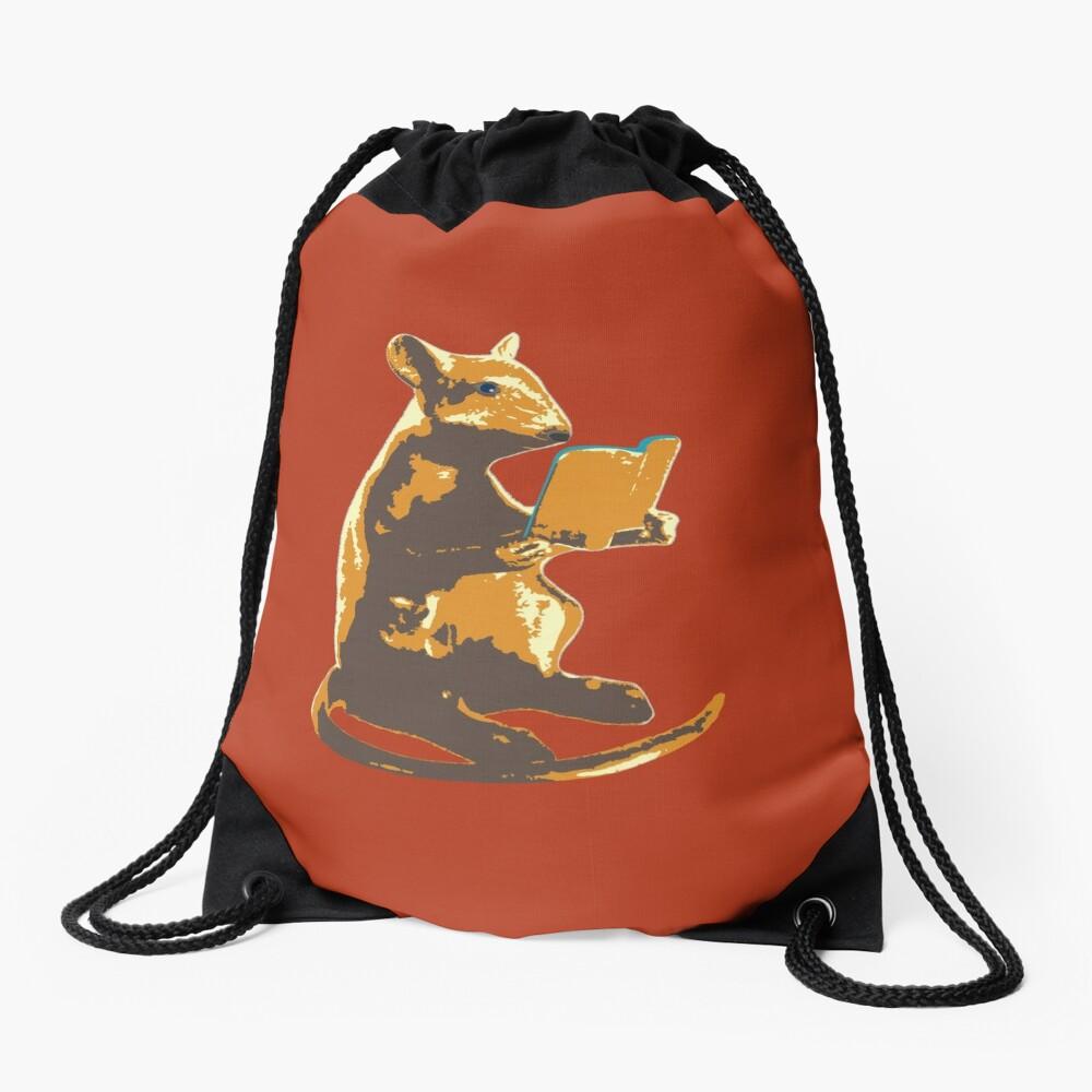 Book Mouse - gold Drawstring Bag