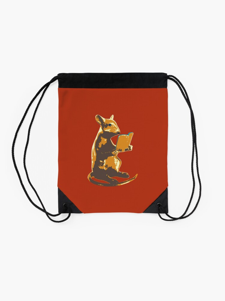 Alternate view of Book Mouse - gold Drawstring Bag