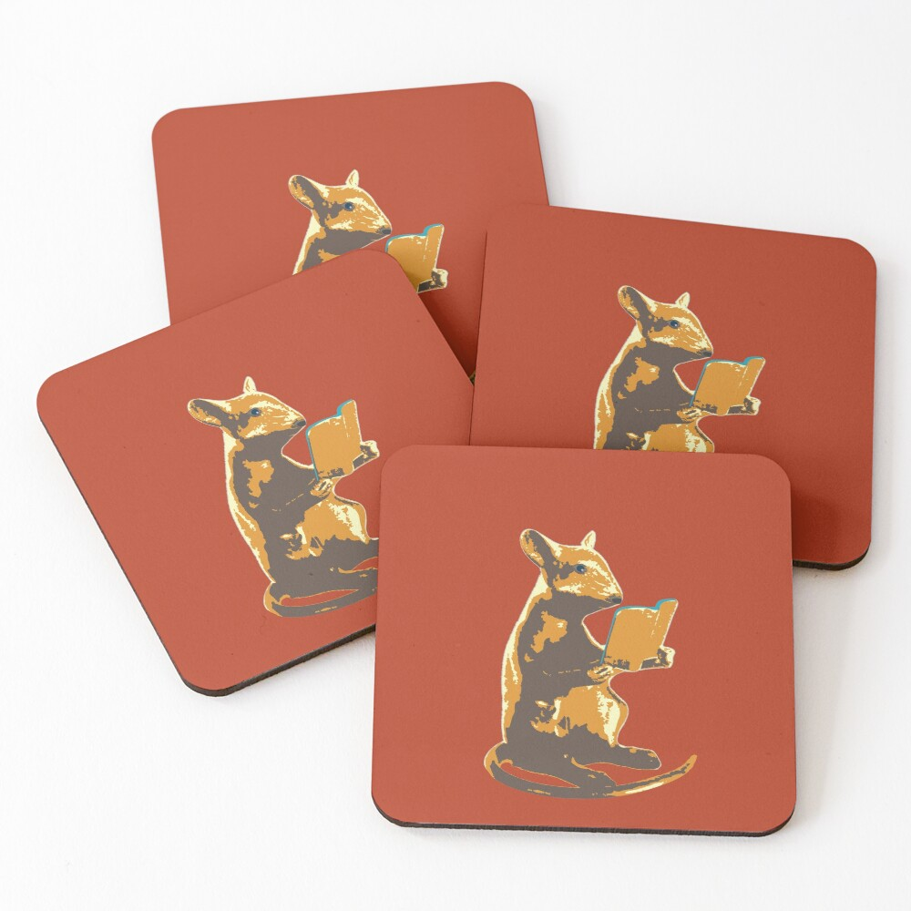 Book Mouse - gold Coasters (Set of 4)