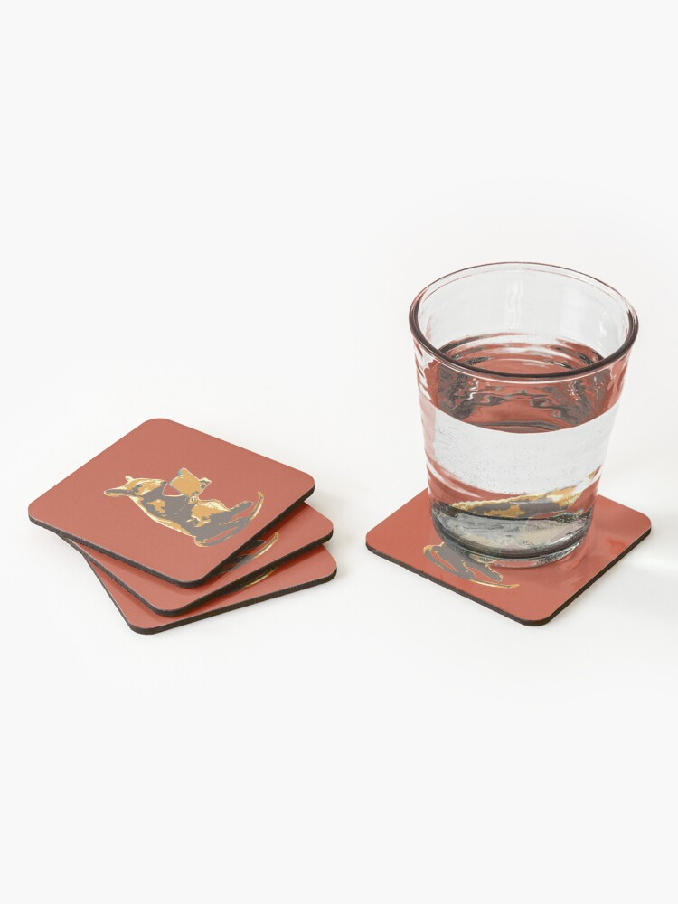 Alternate view of Book Mouse - gold Coasters (Set of 4)