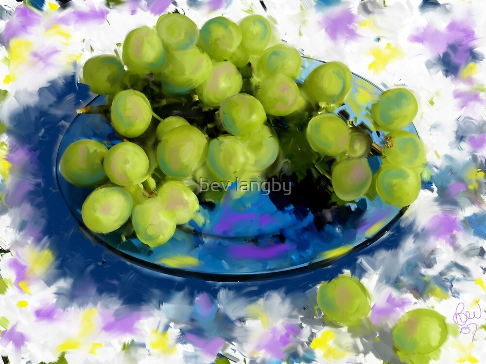 Blue plate green grapes by bev langby