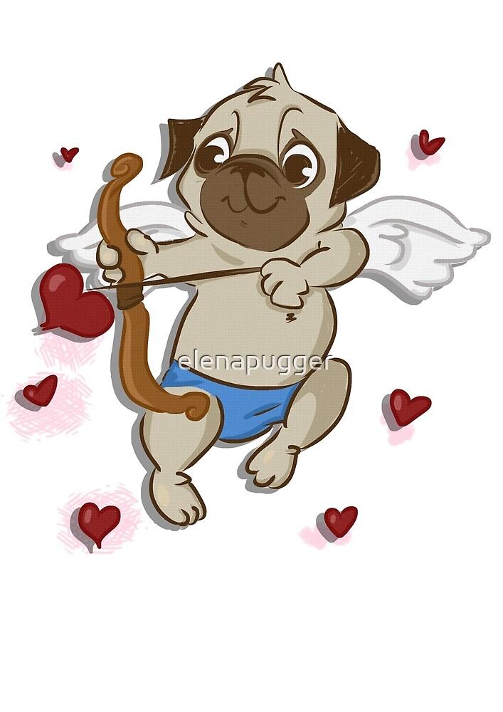Valentine pug by Elena Aiello
