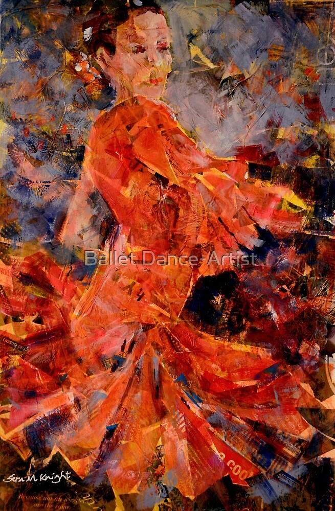Flamenco Dancer In Orange - Dance Art Gallery by Ballet Dance-Artist