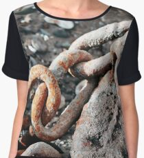 Rusty Chain Rock Fine Art Photography Chiffon Top