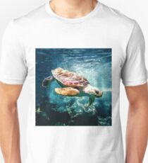 Tropical Sea Turtle Diving in the Blue Caribbean Unisex T-Shirt