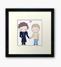 Johnlock - holding hands Framed Print