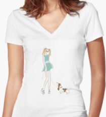 Kooky Fashion Girl with Hound Women's Fitted V-Neck T-Shirt
