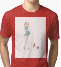 Kooky Fashion Girl with Hound Tri-blend T-Shirt