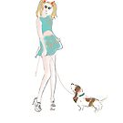Kooky Fashion Girl with Hound by Amanda Latchmore