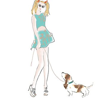Kooky Fashion Girl with Hound by JALArt