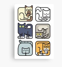 Cute Cat Icon Pattern Canvas Print
