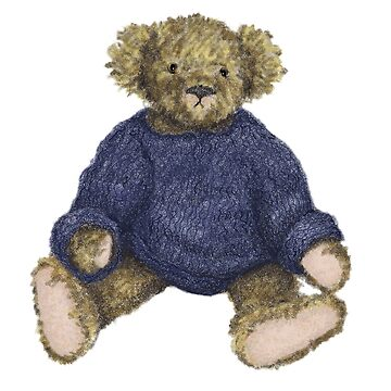 Brown Teddy Bear with Blue Jumper by JALArt