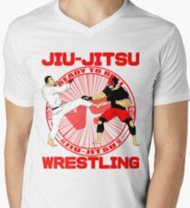 Jiu Jitsu vs Wrestling T-Shirt.   Men's V-Neck T-Shirt