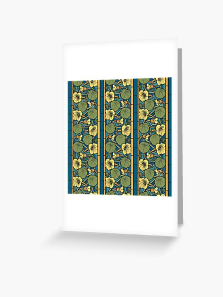 Art Nouveau Shower Curtain Ornate Daffodils Print for Bathroom
