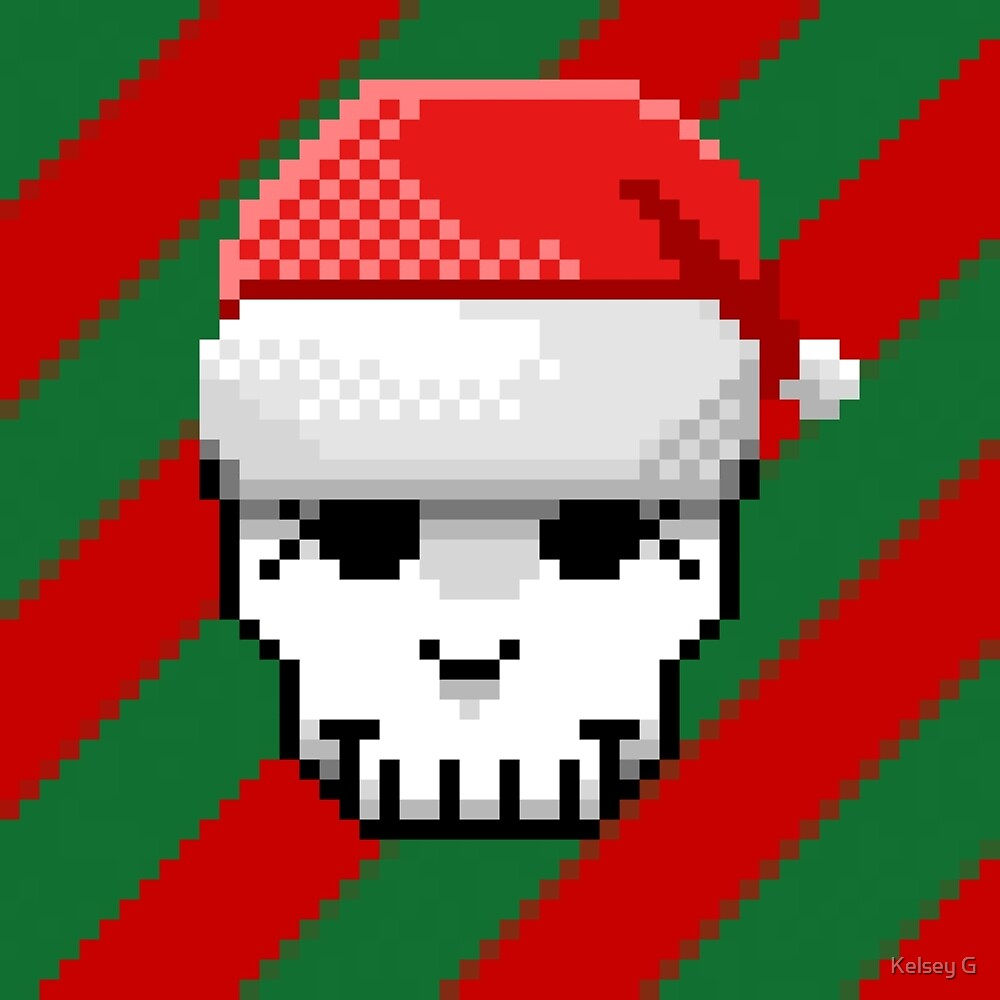Pixel Skull and Santa Hat by Kelsey G