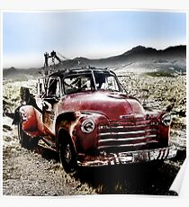 old red tow truck, route 66, cool springs, arizona Poster