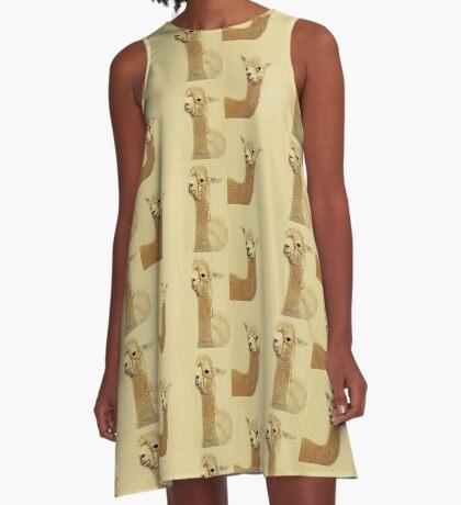Porträt von zwei Alpakas A-Linien Kleid